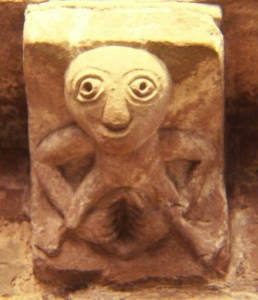 Sheila na gig - these are Goddess images honouring the sacredness of the doors of life. This one was found at Kilpeck Church in Herefordshire. Photocredit: Ben Grader