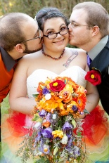 This is obviously not me, but is a wedding picture of a poly triad, and expresses so beautifully that feeling of being happy that your love is happy with someone, which we call compersion.  Photocredit: Waffletaxi http://www.flickr.com/photos/waffletaxi/8428484327/